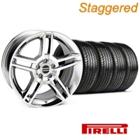 Staggered 2010 GT500 Chrome Wheel & Pirelli Tire Kit - 19x8.5/10 (05-14 All) - American Muscle Wheels 28240||63101||63102||KIT 28237