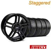 Staggered Black 2010 Style GT500 Wheel & Pirelli Tire Kit - 19x8.5/10 (05-14 All) - AmericanMuscle Wheels KIT 28233||28239||63101||63102
