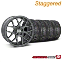 Staggered Charcoal AMR Wheel & General Tire Kit - 19x8.5/10 (05-14 All) - AmericanMuscle Wheels KIT28336||28339||63106||63107