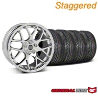 Staggered Chrome AMR Wheel & General Tire Kit - 19x8.5/9.5 (05-13 All) - American Muscle Wheels 28337||63106||63107||KIT28334