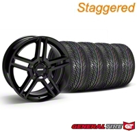 Staggered Black 2010 Style GT500 Wheel & General Tire Kit - 19x8.5/10 (05-14 All) - AmericanMuscle Wheels KIT28236||28239||63106||63107