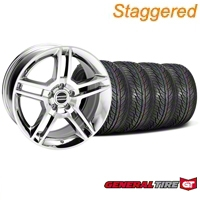 Staggered 2010 GT500 Chrome Wheel & General Tire Kit - 19x8.5/10 (05-14 All) - American Muscle Wheels 28240||63106||63107||KIT28237