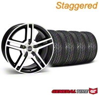 Staggered 2010 GT500 Black Machined Wheel & General Tire Kit - 19x8.5/10 (05-14 All) - American Muscle Wheels 28241||63106||63107||KIT28238