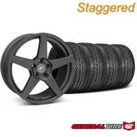 Forgestar Staggered CF5 Matte Black Wheel & General Tire Kit - 19x9/10 (05-14 All) - Forgestar 29600||29601||63106||63107||KIT