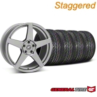 Forgestar Staggered CF5 Gunmetal Wheel & General Tire Kit - 19x9/10 (05-14 All) - Forgestar 29608||29609||63106||63107||KIT