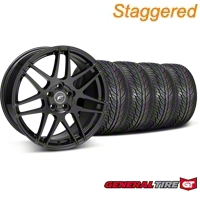 Staggered Piano Black Forgestar F14 Wheel & General Tire Kit - 19x9/10 (05-14 All) - Forgestar KIT||29620||29621||63106||63107