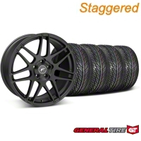 Staggered Black Forgestar F14 Wheel & General Tire Kit - 19x9/10 (05-14 All) - Forgestar KIT||29604||29605||63106||63107