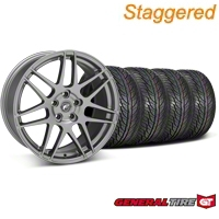 Forgestar Staggered F14 Gunmetal Wheel & General Tire Kit - 19x9/10 (05-14 All) - Forgestar 29612||29613||63106||63107||KIT