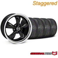 Staggered Black Bullitt Wheel & General Tire kit - 19x8.5/10 (05-14 All) - AmericanMuscle Wheels KIT28247||28248||63106||63107