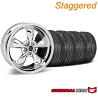 Staggered Chrome Bullitt Wheel & General Tire Kit - 19x8.5/10 (05-14 All) - AmericanMuscle Wheels KIT28249||28250||63106||63107