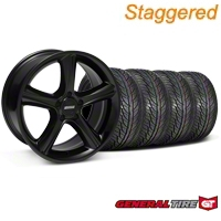 Staggered Black GT Premium Wheel & General Tire Kit - 19x8.5/10 (05-14 All) - AmericanMuscle Wheels KIT28230||28233||63106||63107