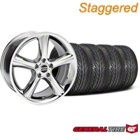 Staggered Chrome GT Premium Wheel & General Tire Kit - 19x8.5/10 (05-14 All) - AmericanMuscle Wheels KIT28231||28234||63106||63107