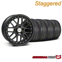 Staggered Matte Black TSW Valencia Wheel & General Tire Kit - 19x8/9.5 (05-14 All) - TSW KIT||33613||33614||63106||63107