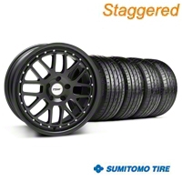 TSW Staggered Valencia Matte Black Wheel & Sumitomo Tire Kit - 19x8/9.5 (05-14 All) - TSW 33613||63036||63037||66314||KIT