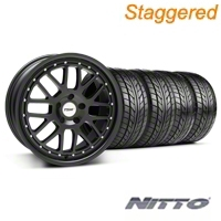 Staggered Matte Black TSW Valencia Wheel & NITTO Tire Kit - 20x8.5/10 (05-14 GT, V6) - TSW KIT||33615||33616||76005||76006
