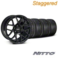 Staggered AMR Black Wheel & NITTO INVO Tire Kit - 18x9/10 (05-14) - American Muscle Wheels 33780||33782||79522||79523||KIT
