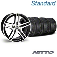 Black Machined 2010 Style GT500 Mustang Wheel & NITTO Invo Tire Kit - 18x9 (05-14 All) - AmericanMuscle Wheels KIT||28221||79522