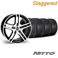 Staggered Black Machined 2010 Style GT500 Mustang Wheel & NITTO Invo Tire Kit - 18x9/10 (05-14 All) - AmericanMuscle Wheels KIT28221||28227||79522||79523