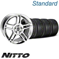 Chrome 2010 GT500 Mustang Wheel & NITTO Invo Tire Kit -18x9 (05-13 All) - American Muscle Wheels 79523||KIT28220