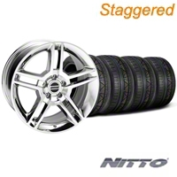 Staggered Chrome 2010 Style GT500 Mustang Wheel & NITTO Invo Tire Kit - 18x9/10 (05-14 All) - AmericanMuscle Wheels KIT28220||28226||79522||79523