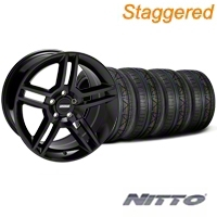 Staggered Black 2010 Style GT500 Wheel & NITTO Invo Tire Kit - 18x9/10 (05-14 All) - AmericanMuscle Wheels KIT33615||33616||76005||76006