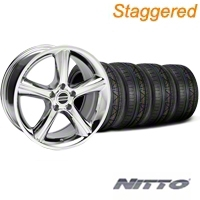 Staggered Chrome 2010 GT Premium Mustang Wheel & NITTO Invo Tire Kit - 18x9/10 (05-14 All) - AmericanMuscle Wheels KIT28211||28217||79522||79523