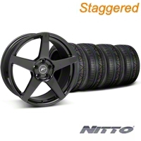 Forgestar Staggered CF5 Monoblock Piano Black Wheel & NITTO INVO Tire Kit - 18x9/10 (05-14 All) - Forgestar 29618||29619||79522||79523||KIT