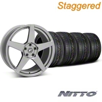 Forgestar Staggered CF5 Monoblock Gunmetal Wheel & NITTO INVO Tire Kit - 18x9/10 (05-14 All) - Forgestar 29610||29611||79522||79523||KIT