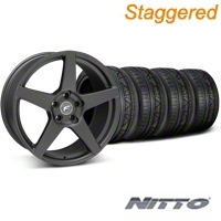 Staggered Matte Black Forgestar CF5 Monoblock Wheel & Nitto Invo Tire Kit - 18x9/10 (05-14 All) - Forgestar KIT||29602||29603||79522|79523|