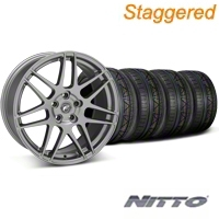 Forgestar Staggered F14 Monoblock Gunmetal Wheel & NITTO INVO Tire Kit - 18x9/10 (05-14 All) - Forgestar 29614||29615||79522||79523||KIT