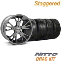Staggered Gunmetal Shelby CS1 Wheel & NITTO Tire Kit - 20x9/11 (05-14 All) - Shelby KIT||33904||33905||76029||79529