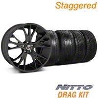 Staggered Matte Black Shelby CS1 Wheel & NITTO Tire Kit - 20x9/11 (05-14 All) - Shelby KIT||33906||33907||76029||79529