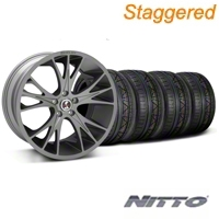 Staggered Gunmetal Shelby CS1 Wheel & NITTO Invo Tire Kit - 20x9/11 (05-14 All) - Shelby KIT||33904||33905||79524||79530