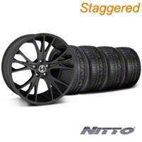 Staggered Matte Black Shelby CS1Wheel & NITTO Invo Tire Kit - 20x9/11 (05-14 All) - Shelby KIT||33906||33907||79528||79530