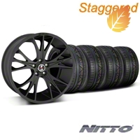 Shelby Staggered CS1 Matte Black Wheel & NITTO INVO Tire Kit - 20x9/11 (05-14 All) - Shelby 33906||33907||79528||79530||KIT