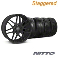 Forgestar Staggered F14 Monoblock Textured Black Wheel & NITTO Tire Kit - 20x9/11 (05-14 All) - Forgestar 29624||29625||76029||79529||KIT