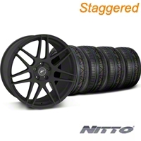 Forgestar Staggered F14 Monoblock Textured Matte Black Wheel & NITTO INVO Tire Kit - 20x9/11 (05-14 All) - Forgestar 29624||29625||79524||79530||KIT