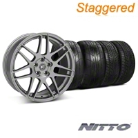 Forgestar Staggered F14 Monoblock Gunmetal Wheel & NITTO Tire Kit - 20x9/11 (05-14 All) - Forgestar 29262||29627||76029||79529||KIT