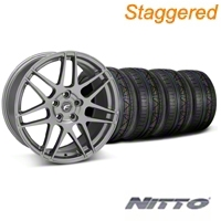 Forgestar Staggered F14 Monoblock Gunmetal Wheel & NITTO INVO Tire Kit - 20x9/11 (05-14 All) - Forgestar 29626||29627||79524||79530||KIT