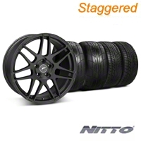 Forgestar Staggered F14 Monoblock Matte Black Wheel & NITTO Tire Kit - 20x9/11 (05-14 All) - Forgestar 29628||29829||76029||79529||KIT