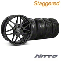 Staggered Gloss Black Forgestar F14 Monoblock Wheel & NITTO Tire Kit - 20x9/11 (05-14 All) - Forgestar KIT||29830||29831||76029||79529