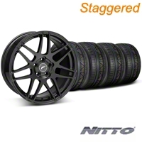 Forgestar Staggered F14 Monoblock Piano Black Wheel & NITTO INVO Tire Kit - 20x9/11 (05-14 All) - Forgestar 29830||29831||79524||79530||KIT