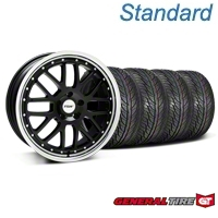 TSW Valencia Black w/ Polished Lip Wheel & General Tire Kit - 19x8 (05-14 All) - TSW 33625||63106||KIT