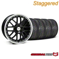 TSW Staggered Valencia Black w/ Polished Lip Wheel & General Tire Kit - 19x8/9.5 (05-14 All) - TSW 33625||33626||63106||63107||KIT