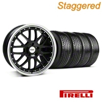 Staggered Black w/ Polished Lip TSW Valencia Wheel & Pirelli Tire Kit - 19x8/9.5 (05-14 GT, V6) - TSW KIT||33625||33626||63101||63102