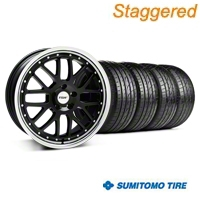 Staggered Black w/ Polished Lip TSW Valencia Wheel & Sumitomo Tire Kit - 20x8.5/10 (05-14 GT, V6) - TSW KIT||33627||33628||63024||63025