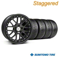 TSW Staggered Valencia Matte Black Wheel & Sumitomo Tire Kit - 18x8/9.5 (94-04 All) - TSW 33621||33622||63016||63029||KIT