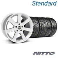 Silver S197 Saleen Style Wheel & Nitto Tire Kit - 18x9 (05-14 All) - AmericanMuscle Wheels KIT||28356||76009