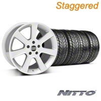 Staggered S197 Saleen Silver Wheel & NITTO Tire Kit - 18x9/10 (05-14 All) - American Muscle Wheels 28356||28359||76009||76010||KIT