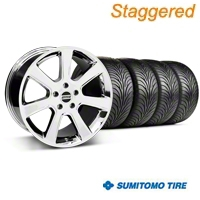 Staggered Chrome S197 Saleen Style Wheel & Sumitomo Tire Kit - 18x9/10 (05-14 All) - AmericanMuscle Wheels KIT||28355||28358||63008||63009